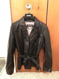 Women's Black Leather Jacket with Belt