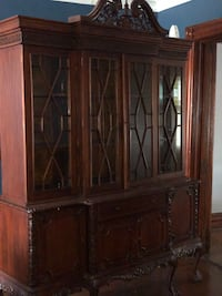 Brown wooden framed glass display cabinet New York, 11691
