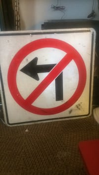No left turn sign for the collector Abbotsford, V2S 5G6