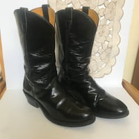 Double H Women' Black Leather Cowboy Boots with a rounded Almond Toe, Size 10B Houston