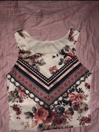 White, red, and black floral spaghetti strap top Tustin, 92780