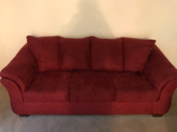 Used Red suede sofa set for sale in Lithonia - letgo