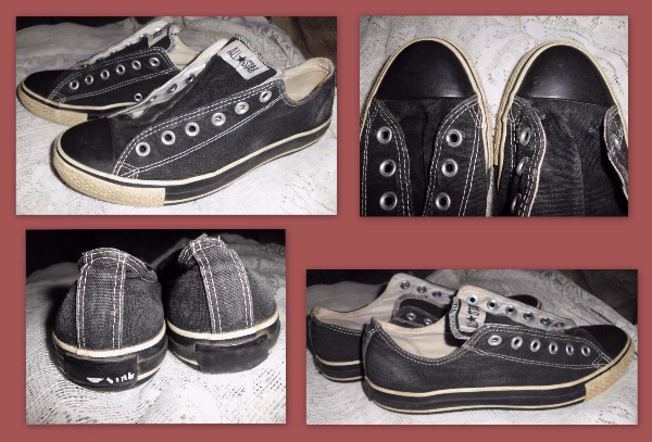 Unisex 8M 10W CONVERSE All Star Well Worn Black Canvas Low-Top Sneakers Shoes