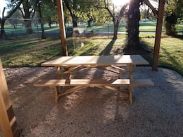 "96"" unfinished solid wood picnic table w 2 benches"