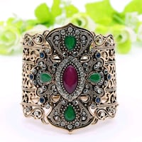 silver and green gemstone ring Surrey, V3X 1P3