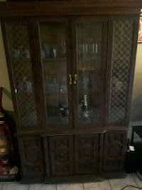 brown wooden framed glass display cabinet Baldwin Park, 91706