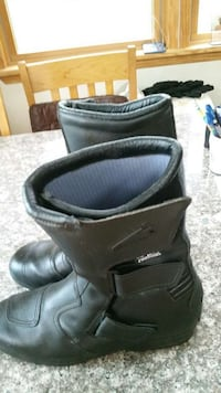 black leather velcro strapped boots