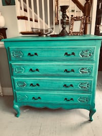 Solid wood rustic beauty turquoise teal/ red dresser chest of drawers Rockville, 20855