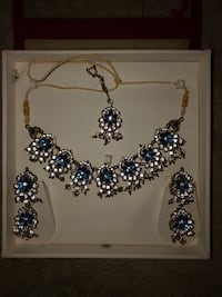 silver and blue gemstone necklace and earrings Edmonton, T6R 0H5