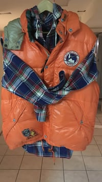 green rlpc ski club button u bubble hoodie vest and blue grey and red plaid jacket Fort Washington, 20744