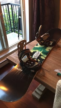 Sims snow board with burton bindings