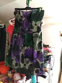 women's gray, purple, and green floral strapless dress Chicago, 60641