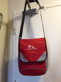 red and gray crossbody bag