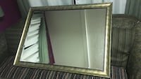 gray metal frame rectangular wall mirror