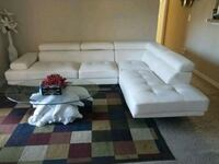 white leather sectional sofa with throw pillows Lake Mary, 32746