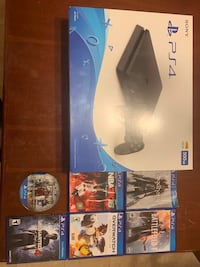 PS4 Console, 6 games, controller, all cables, like new used once