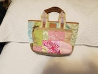 green and pink leather tote bag