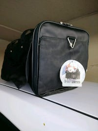 black leather pet carrier