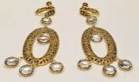 1960'S VINTAGE Russian Gold Tone Filigree Crystal Dangle Chandelier Earrings