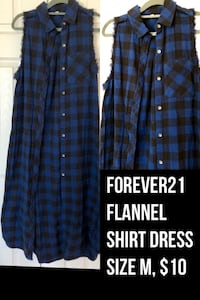 Forever21 flannel shirt dress, Size M Chantilly, 20152