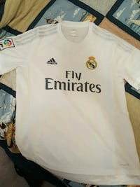 white and black Adidas Fly Emirates jersey shirt