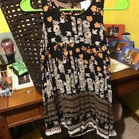 black and white floral scoop neck sleeveless dress Mercedes, 78596