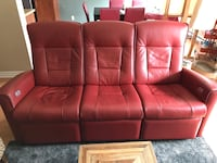 Red leather tufted sofa chair Montréal, H9H 5M5