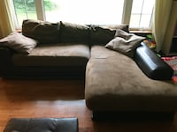 Sectional faux suede and leather couch with recliner and chair. Hamilton, L0R
