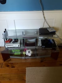 clear glass 2-layer TV stand