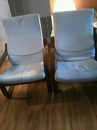 two black wooden framed gray padded armchairs Fairfax, 22033