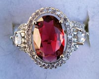 Sterling silver 3ct lab ruby with halo ring Baltimore, 21224