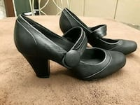 "Size 8 1/2W - Clark's - Black leather 3"" heels Weston"
