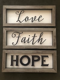 Love, faith, hope wall decor. 12 inches in length  Beaumont, 92223