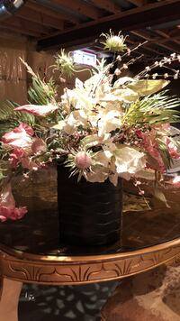 brown potted white and pink flower centerpiece Markham, L6B 0P4
