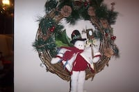 brown twig with pine leaves snowman wreath Calgary