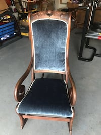 Velvet made solid wood antique rocking chair great condition  Brampton, L7A