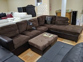 New chocolate microfiber faux leather sectional with pillows and stora