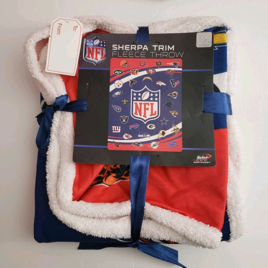New NFL Sherpa Trim Fleece Throw