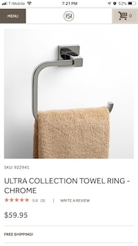 Ultra Collection Towel Ring - Chrome Signature Hardware - Solid Brass Clifton, 20124