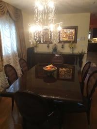 Italian lacquer dining room set, 6 chairs, cupboard