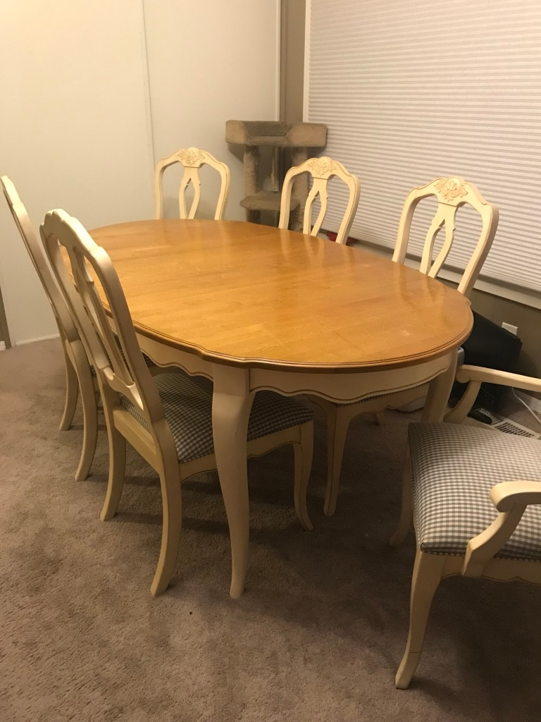 oval brown wooden table with six chairs dining set rh gb letgo com