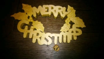 Hand carved Merry Christmas sign decoration