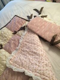 Pink and brown floral crib bumper