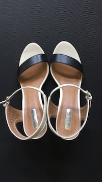Halogen, Nordstrom brand. Leather ankle strap wedge sandal. 3 1/2 inch wedge. Black-and-white. Excellent condition. Probably worn a couple of times