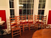 "6 antique wooden ladder back chairs 48"" tall"