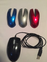 black corded computer mouse with three gray, blue, and red cases Cambridge, N3C 4H7