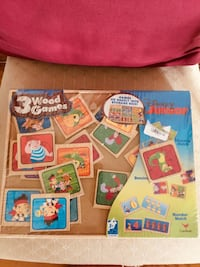 Disney Junior 3 wood games storage Box dominos & memory & number match