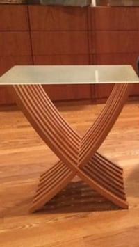 Glass foldable side table