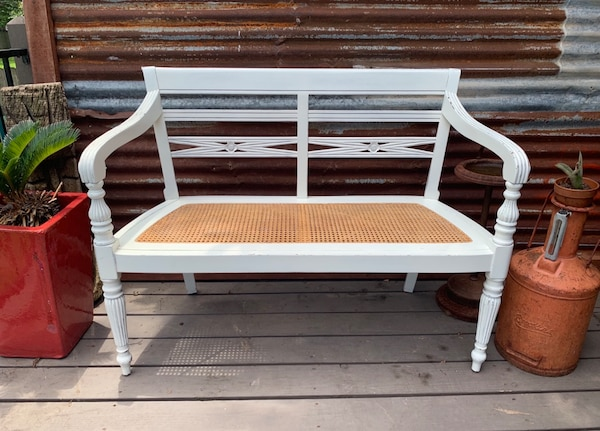 Strange Distressed White Wood And Cane Bench Theyellowbook Wood Chair Design Ideas Theyellowbookinfo