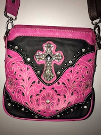 Pink and black leather crossbody bag Payson, 85541